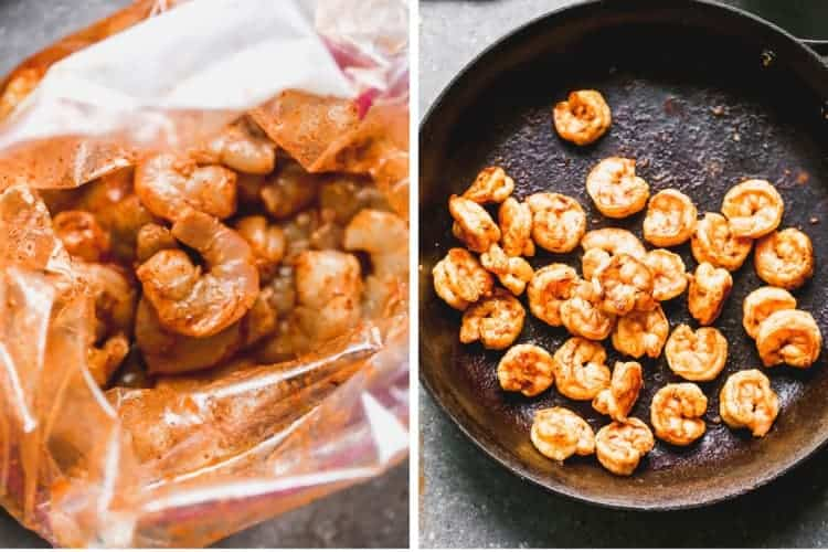 Shrimp marinating in a bag, and then cooking in a cast iron pan.