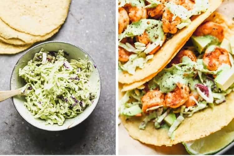 A bowl of slaw with shrimp taco sauce next to a photo of assembled shrimp tacos.