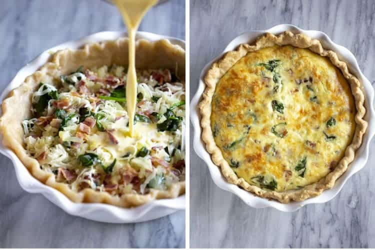 Egg and milk mixture poured over bacon and spinach in a pie dish next to a photo of the baked quiche.