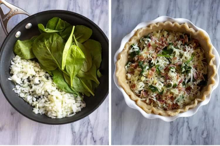 Spinach and onion cooking in a skillet and then add to a pie crust with cheese and bacon.