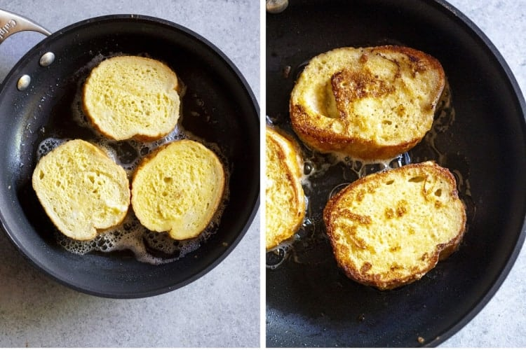 Two process photos of bread frying a pan to make torrijas.