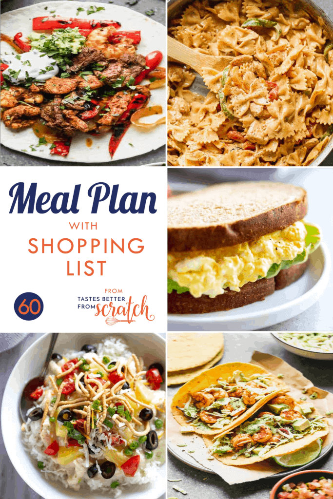 Collage of 5 dinner images for a printable weekly meal plan