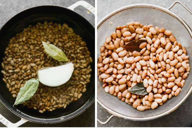 Two process photos for cooking and then draining pinto beans.