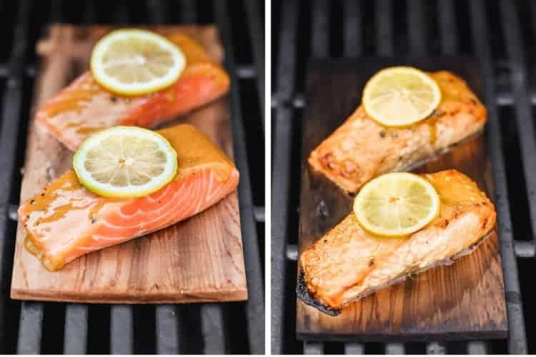 Before and after photos of salmon cooking on a cedar plank on the grill.