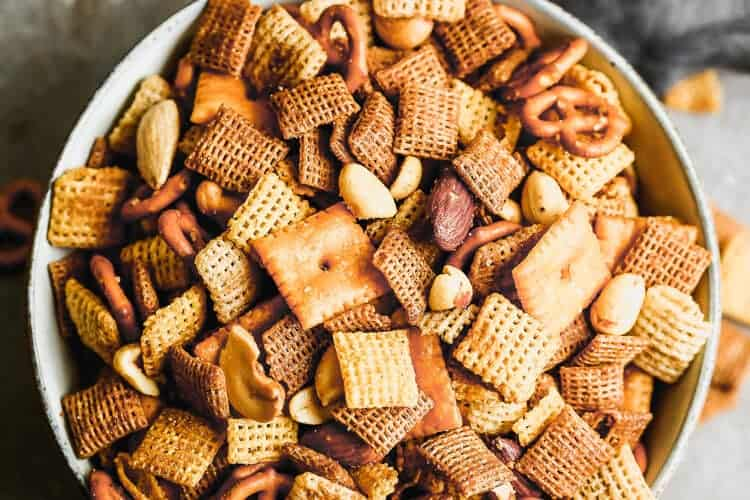 Overhead photo of a bowl filled with homemade Chex mix.