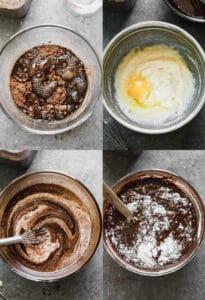Four process photos for making chocolate cupcake batter in a mixing bowl.