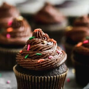 Chocolate cupcakes with buttercream frosting and sprinkles on top, lined up on a grey board .