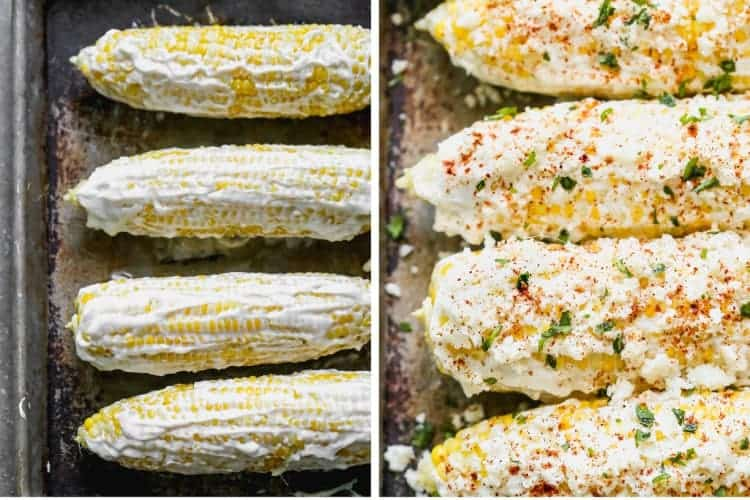 Two process photos for coating Mexican street corn with garnishing with cheese and chili powder.
