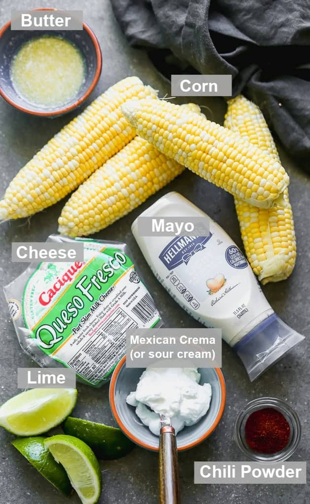 Labeled ingredients needed to make Elote Mexican Street Corn.