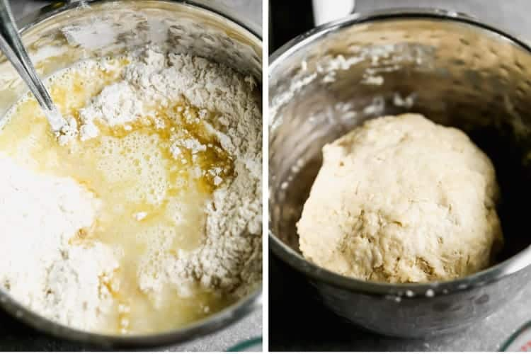 Two process photos for making empanada dough in a mixing bowl.