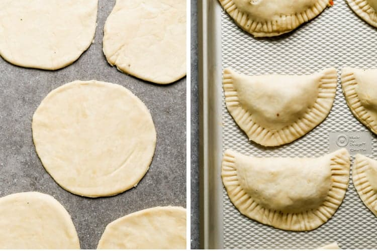 Empanada dough rolled into circles, then folded over filling and crimped edges.
