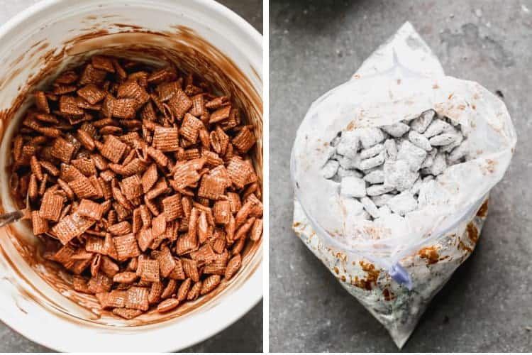 A bowl of Chex cereal coated in chocolate peanut butter, then added to a bag of powdered sugar.