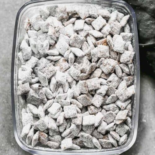 A clear glass dish with muddy buddies in it.