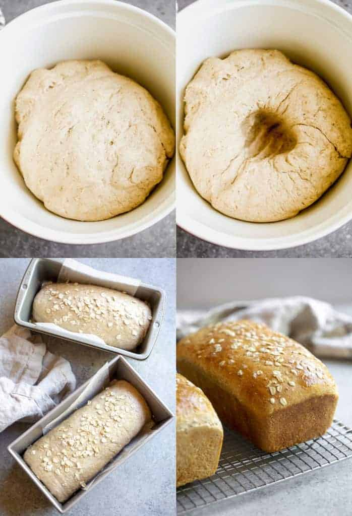 Four process photos of risen bread, punched down, shaped in loaves, and baked.