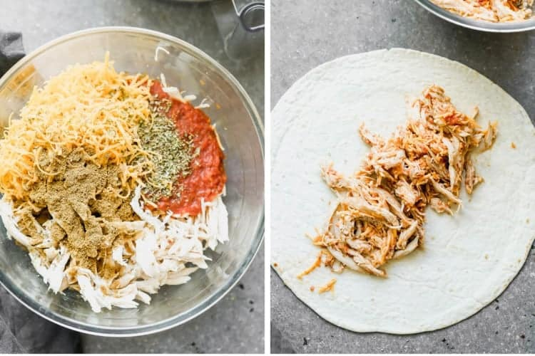Shredded chicken and spices in a bowl then topped on a flour tortilla.