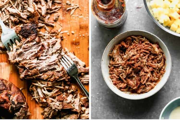 Two process photos for shredding pork and then mixing it with BBQ sauce, in a bowl.
