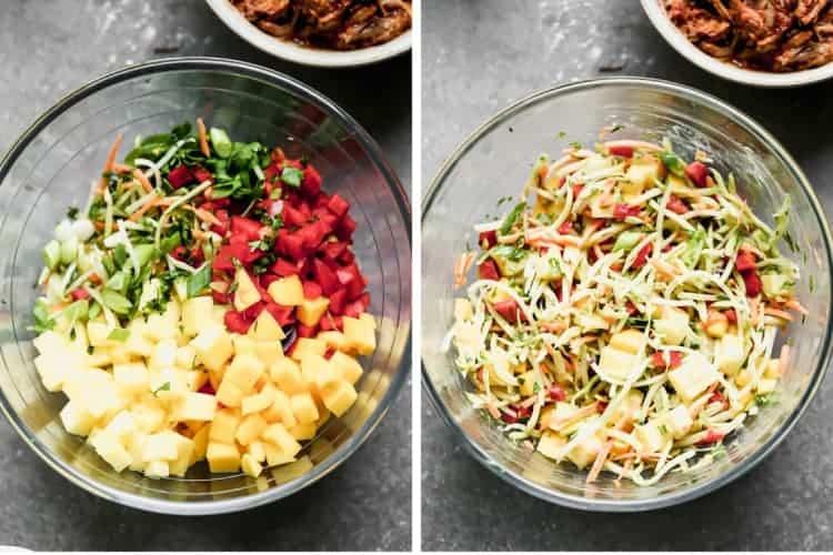 Les ingrédients de la salade de porc effiloché BBQ dans un bol, puis mélangé avec la vinaigrette.