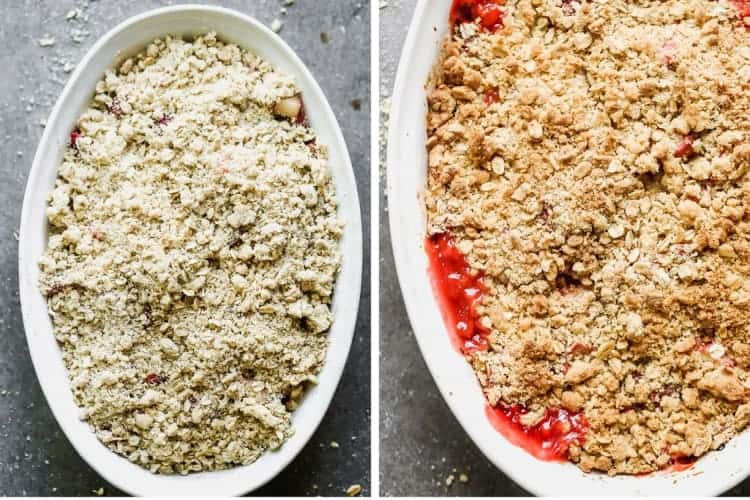 Before and after photos of a rhubarb crisp with oat topping, then baked in the oven.