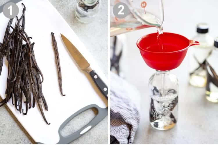Two process photos for cutting slits in vanilla beans, adding to a bottle and pouring in Vodka.
