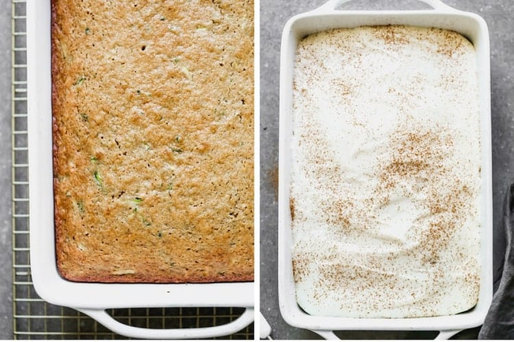 A baked zucchini cake, then cream cheese frosting added on top.