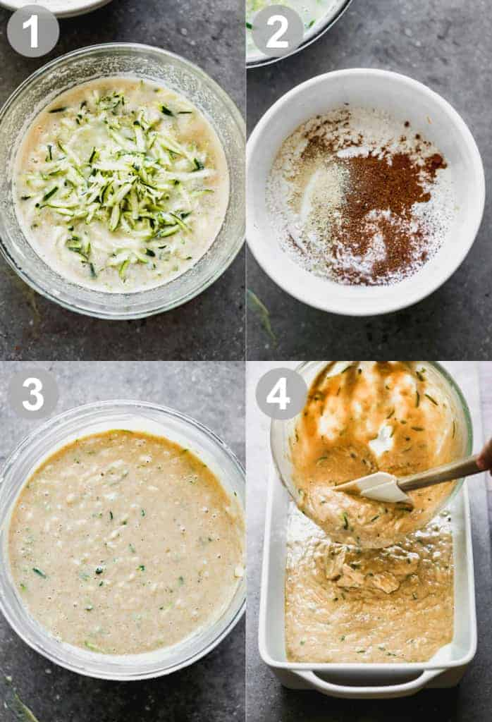 Four process photos for making zucchini cake batter in a bowl and pouring into a baking dish.