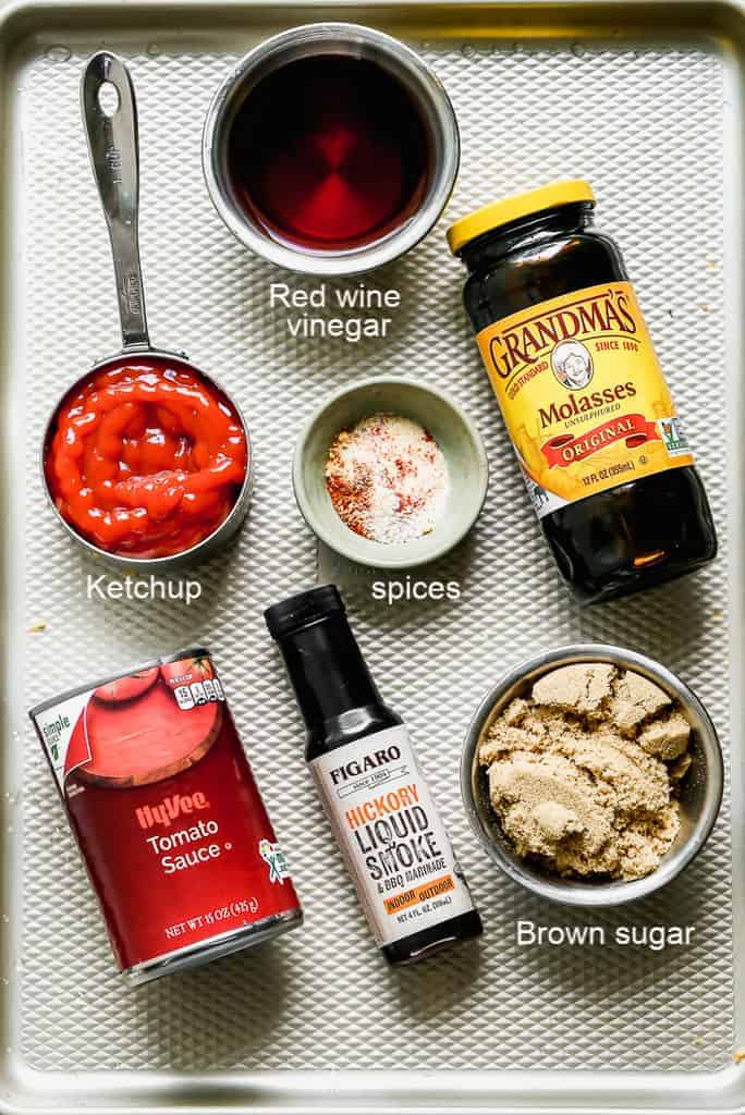A tray with the ingredients needed for homemade BBQ sauce.
