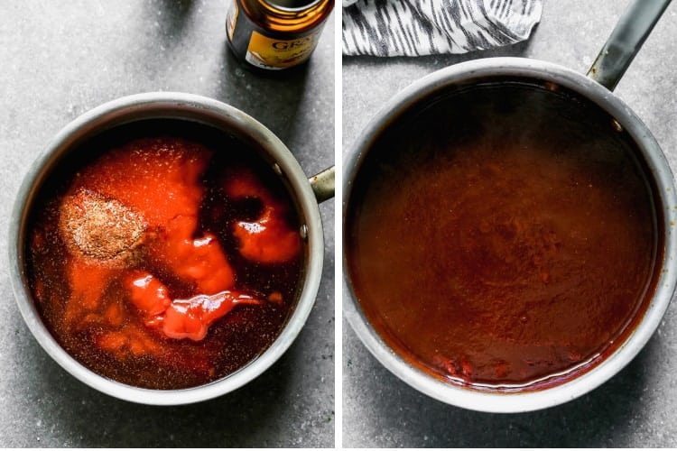 A sauce pan with the ingredients for BBQ sauce added, then mixed together and simmering.