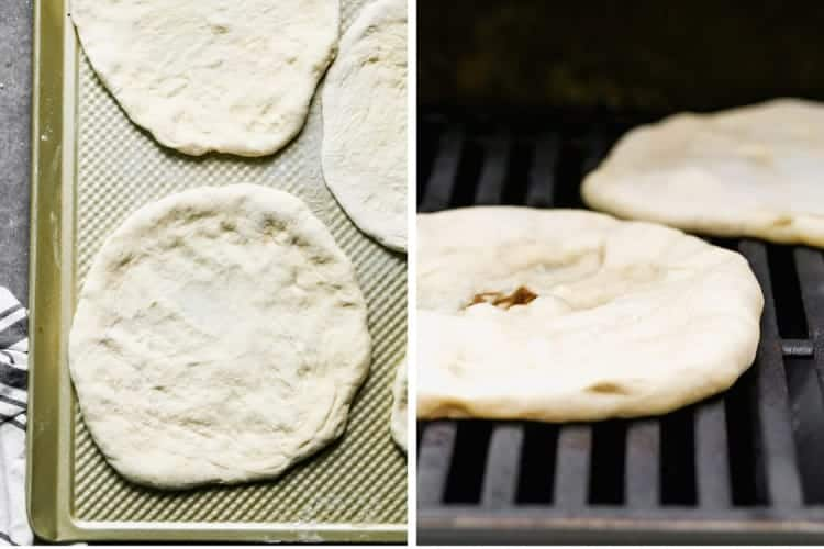 Two process photos for shaping pizza dough and cooking it on a grill.