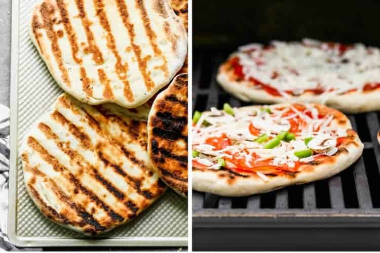 Grilled pizza crust, toppings added and placed back on a grill to cook.
