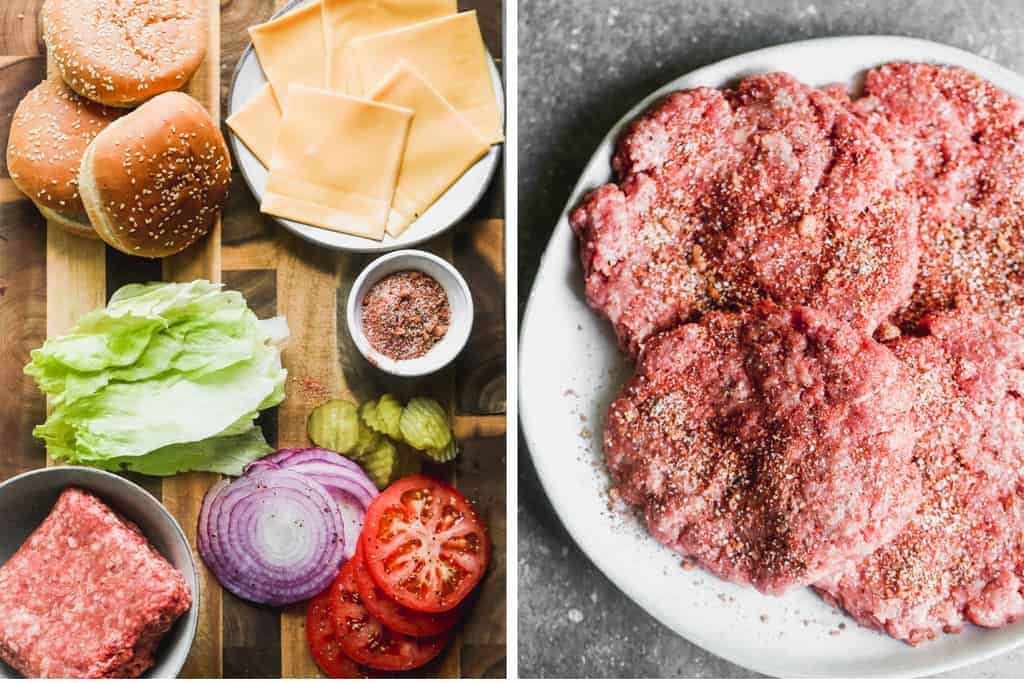 All of the ingredients needed to make a hamburger next to a plate with formed burger patties.