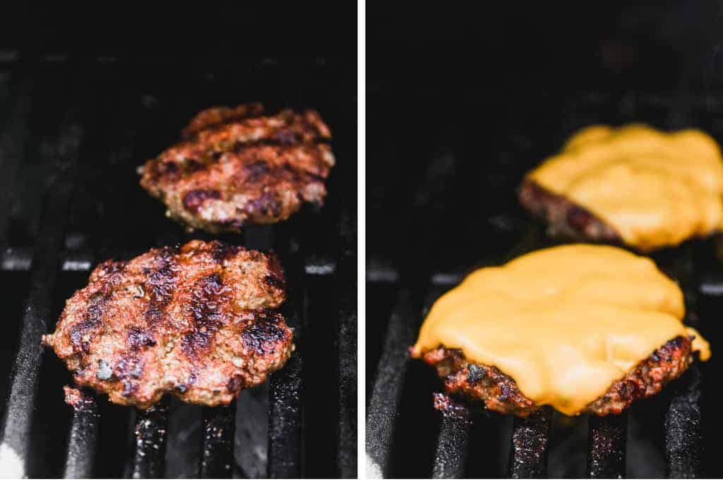 Two process photos of hamburger patties cooking on a grill, then cheese added, melted on top.