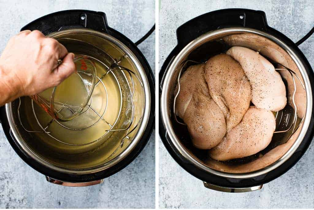 Two process photos for adding liquid and chicken breasts to an instant pot to pressure cook.
