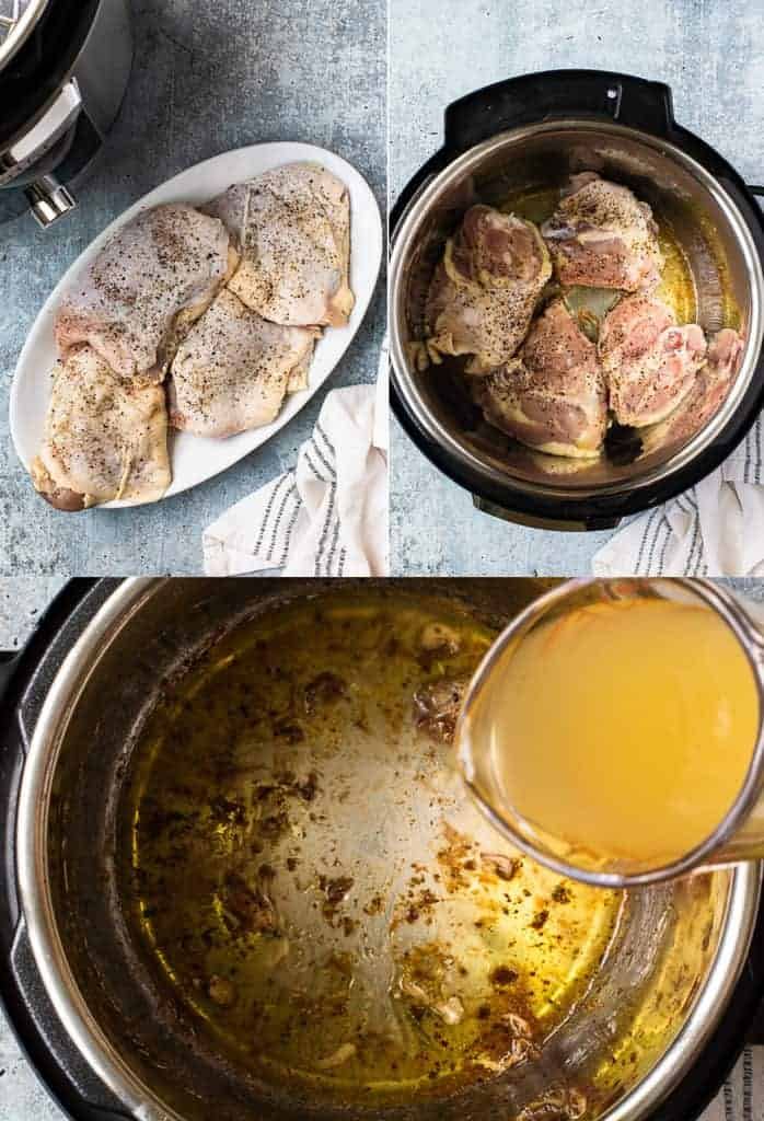 Three process photos for seasoning chicken thighs, searing the skin in the instant pot, then liquid poured in the instant pot.