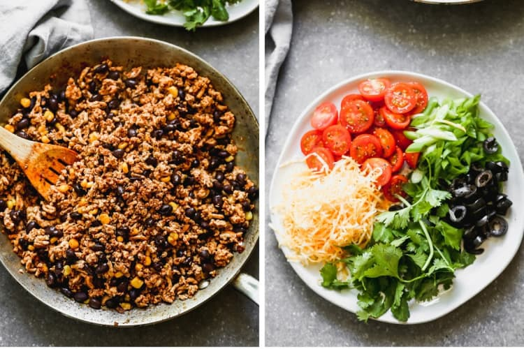 A skillet of ground beef taco salad mixture next to a plate with toppings for taco salad.