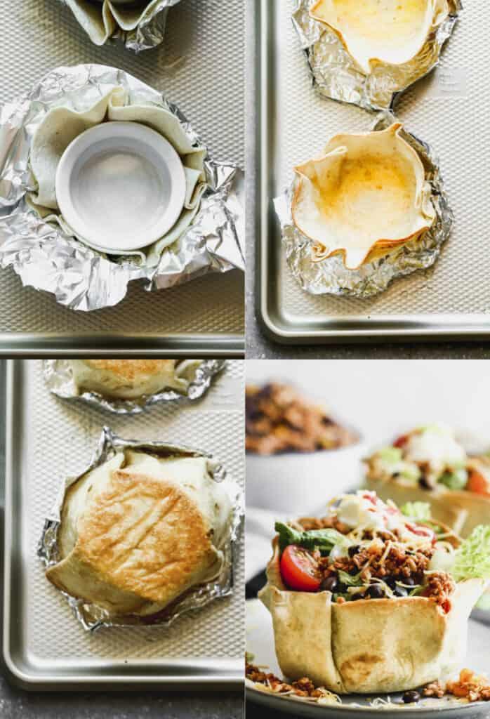 Four process photos for how to bake a tortilla bowl shell from a flour tortilla.