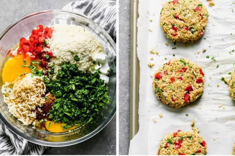 Deux photos de processus pour combiner les ingrédients des hamburgers végétariens et les façonner en galettes.