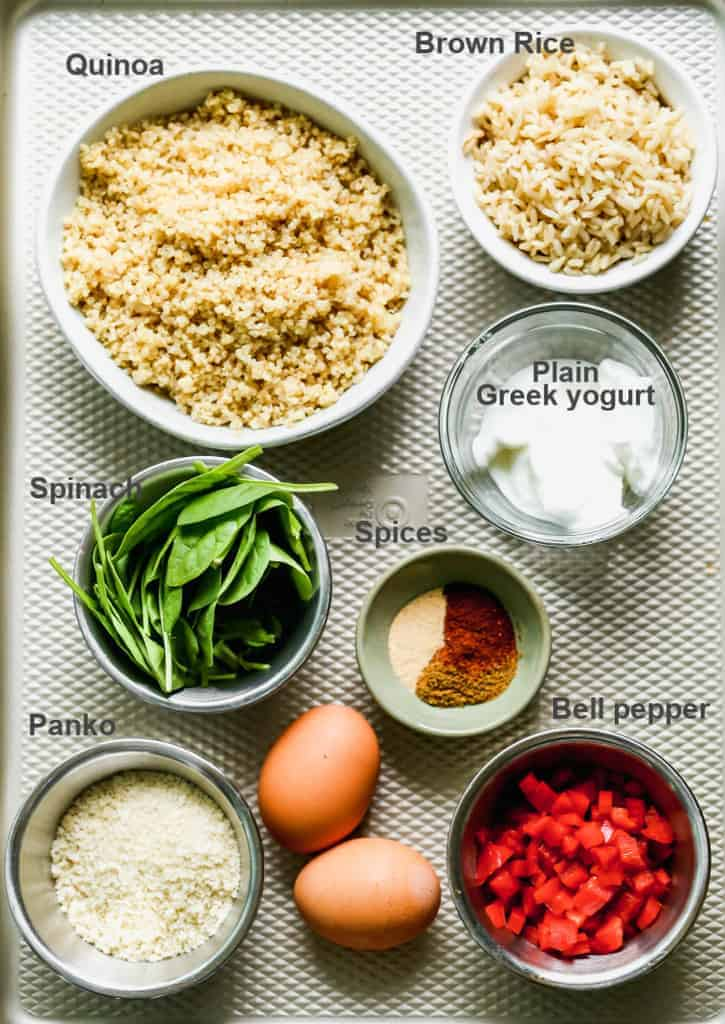 A tray with labeled ingredients needed for to make Veggie Burgers.