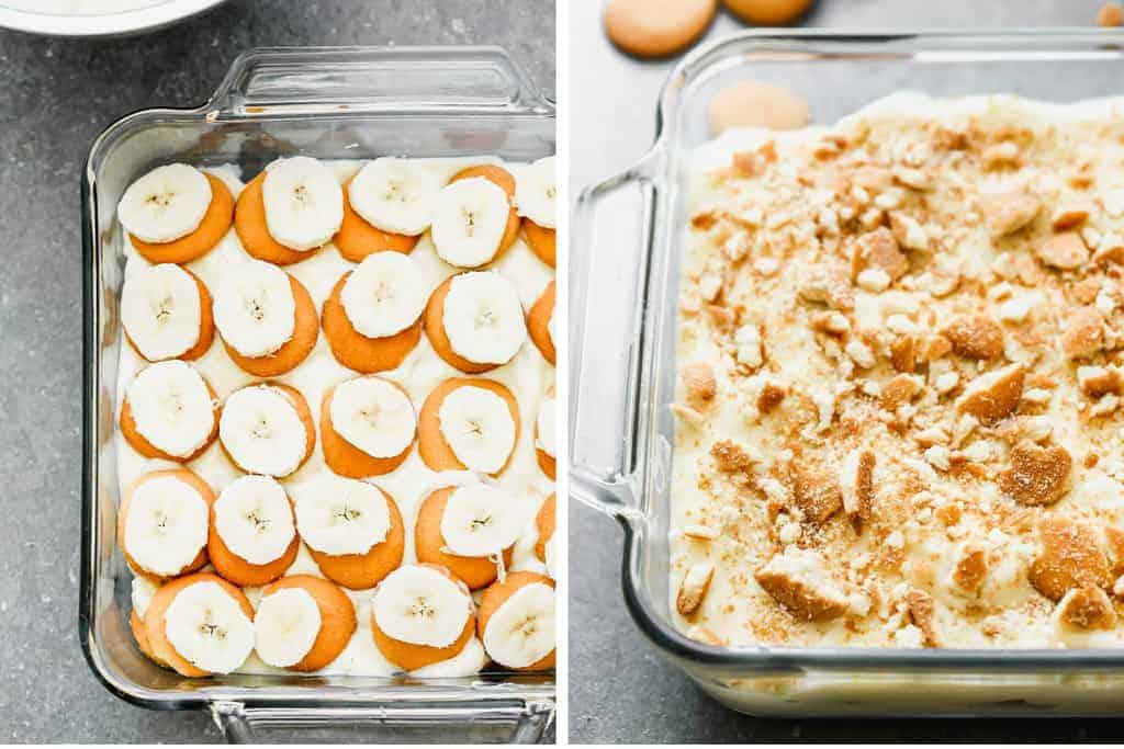 Deux photos de processus pour superposer le pudding à la vanille, les gaufrettes Nilla et les bananes en tranches dans un plat pour faire du pudding à la banane.