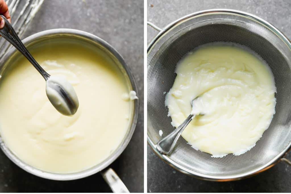 A saucepan with vanilla pudding coating the back of a spoon, then the pudding inside a fine mesh strainer.
