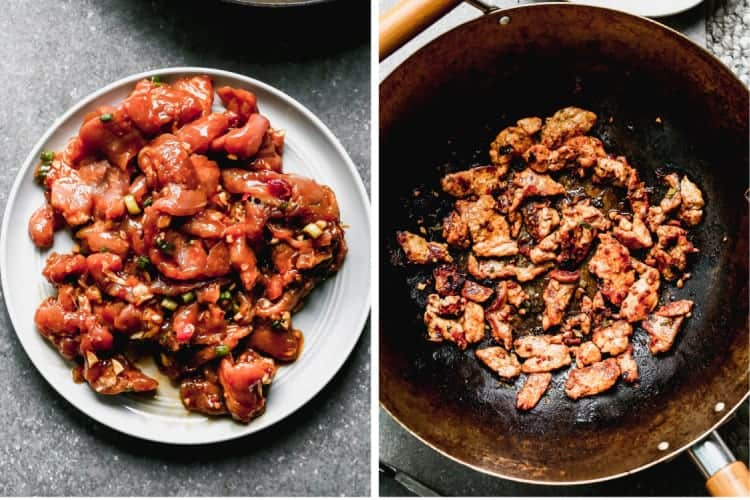 Marinated bulgogi meat on a plate, then cooking in a hot skillet.