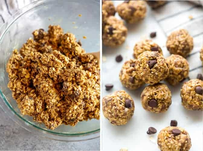 Two process photos of the ingredients for energy balls stirred together in a bowl, then rolled into balls.