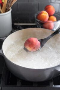 boil water for scalding peaches