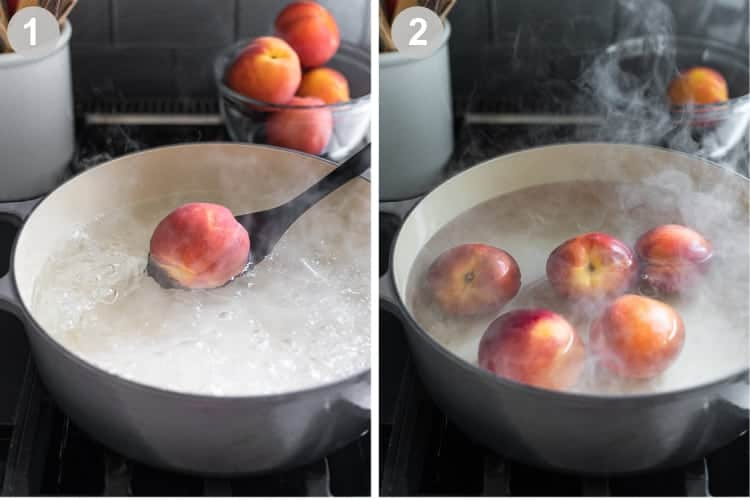 Two process photos for boiling water, then lowering peaches into simmering water.