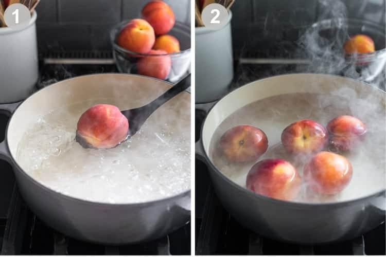 Deux photos de processus pour faire bouillir de l'eau, puis abaisser les pêches dans de l'eau frémissante.