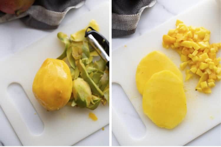 Two process photos for peeling a mango, then cutting it.