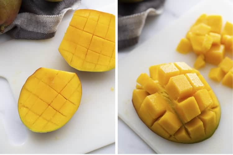 Two process photos for cutting a mango by slicing the mango cheeks/sides off, scoring it, then pushing it inside out.