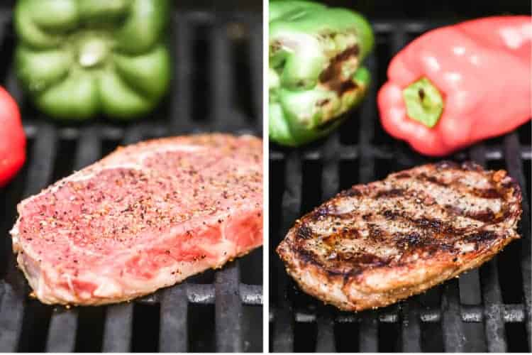 Two process photos of a piece of steak cooking on a hot grill, flipped once, showing grill marks.