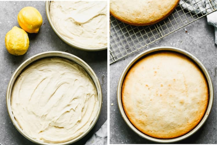 Before and after photos of lemon cake batter in a round baking pan, then baked.
