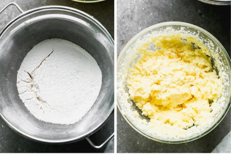 Two process photos for mixing dry ingredients and wet ingredients separately in mixing bowls for Lemon Cake.
