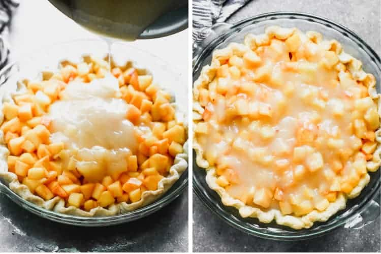 Thickened sauce poured over fresh peaches in a pie shell, then smoothed over the top of the pie.